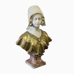 Antique Marble and Gilded Bronze Bust of a Young Woman by Léon