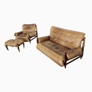 Leather Sofa, Lounge Chair & Ottoman by Jean Gillon for Italma Wood Art, 1970s, Set of 3