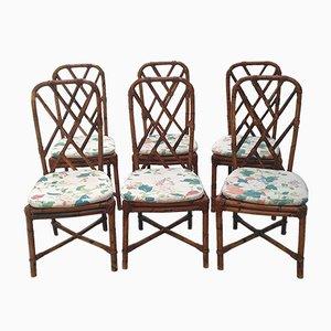 Vintage Esszimmerstühle aus Schilfrohr, 1970er, 6er Set