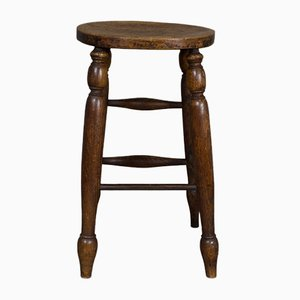 Antique Ash and Elm Factory Stool