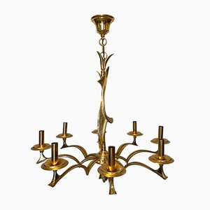 Vintage Bronze Sculpture Chandelier, 1970s