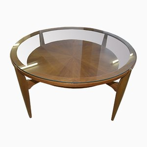 Mid-Century Round Walnut Coffee Table, 1960s