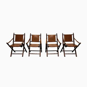Vintage Leather Military Campaign Folding Chairs, 1960s, Set of 4