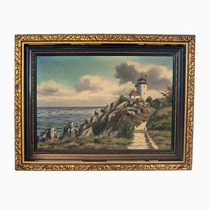 Vintage Lantern Painting on Canvas with Golden Frame