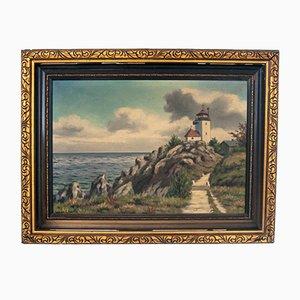 Vintage Laterne Gemälde auf Leinwand mit Goldrahmen