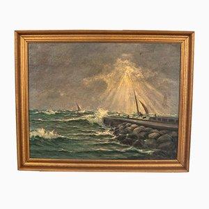 Vintage Licht während eines Sturms Gemälde auf Leinwand