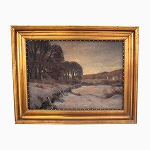 Vintage Winter Landscape Painting