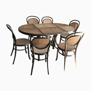 Oval Dining Chairs & Table in Wood Cane, Germany, 1960s, Set of 7