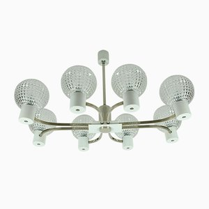 Large Mid-Century Chrome Metal Chandelier with 8 Glass Balls, 1960s