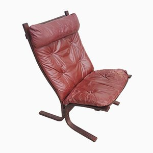 Mid-Century Siesta Leather High Back Chair by Ingmar Relling for Westnofa, 1960s