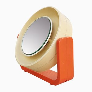 Mid-Century Orange Double Side Illuminated Makeup Mirror from Allibert, Germany, 1967