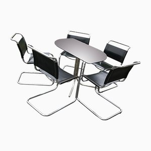 Italian Bauhaus Style Chrome & Smoked Glass Dining Table & Chairs in the Style of Mart Stam, 1960s, Set of 6
