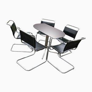 Italienischer Chrom & Rauchglas Esstisch & Stühle im Bauhaus Stil im Stil von Mart Stam, 1960er, 6er Set