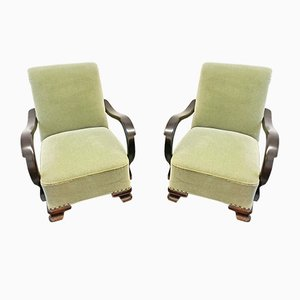 Art Deco Green Armchairs, 1920s, Set of 2