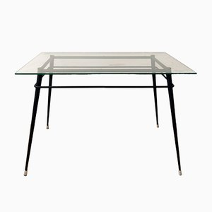 Metal and Glass Dining Table, 1970s