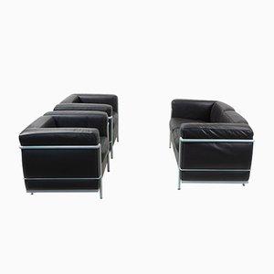 LC2 Lounge Set von Le Corbusier für Cassina, 1980er, 3er Set