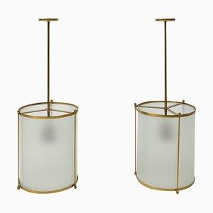 Lampes à Suspension Vintage en Laiton et en Verre, Suisse, 1940s, Set de 2