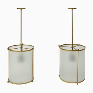 Vintage Swiss Brass and Glass Pendant Lamps, 1940s, Set of 2