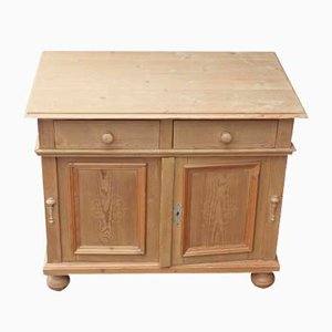 Small Pinewood Country Cabinet with 2 Drawers, 1940s
