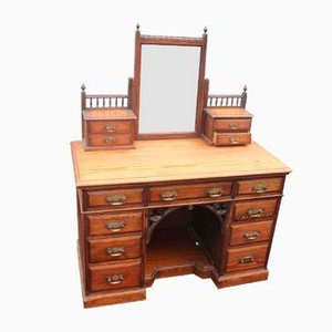 Large Antique Pitch Pine Dressing Table with Mirror Stand