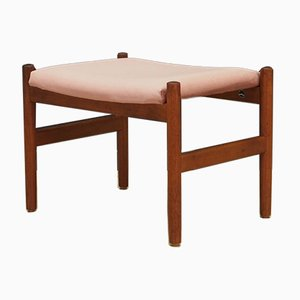 Teak and Pink Velour Ottoman by Hugo Frandsen for Spøttrup Stolefabrik, 1960s