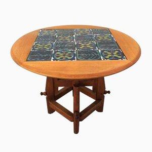 Adjustable Oak Side Table by Guillerme et Chambron for Votre Maison, 1960s