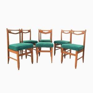 Goldene Eichenholz Esszimmerstühle von Guillerme et Chambron für Votre Maison, 1970er, 6er Set