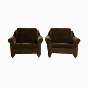 Mid-Century Swedish Velvet Lounge Chairs, Set of 2