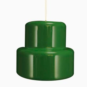 Mid-Century Danish Green Metal Ceiling Lamp by Johannes Hammerborg for Fog & Mørup