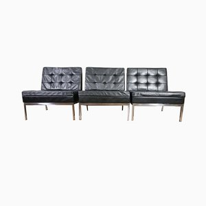 Mid-Century Black Leather Model 65 Lounge Chairs by Florence Knoll Bassett for Knoll Inc. / Knoll International, Set of 3