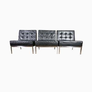 Schwarze Mid-Century Modell 65 Leder Sessel von Florence Knoll Bassett für Knoll Inc. / Knoll International, 3er Set