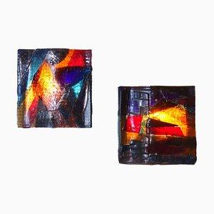 Brutalistische Buntglas Wandlampen von van Tetterode, 1960er, 2er Set