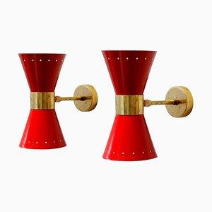 Italienische Mid-Century Wandlampen, 1950er, 2er Set