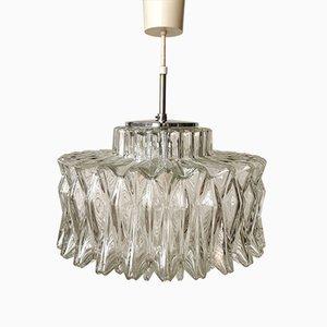 Deutsche Mid-Century Glas Deckenlampe, 1960er