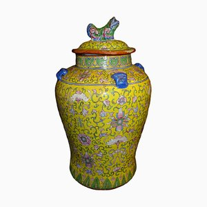 19th Century Qing Dynasty Rosefamily Jaune Blue, Pink & Green Ceramic Vase with Lid