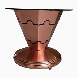 Art Deco Copper Beard Table on Wheels with Bottle & Glass Holder and Brown Frosted Round Glass Top, 1930s