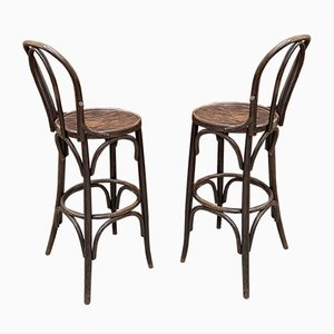 Barstools with Backrests, 1970s, Set of 2
