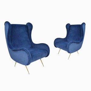 Italian Velvet Armchairs by Marco Zanuso, 2015, Set of 2