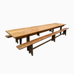 Community Table & Benches, 1950s, Set of 3