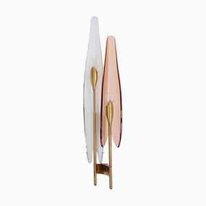 Hellrosa Wandleuchte Modell Dalia von Max Ingrand für Fontana Arte, Italien, 1950er
