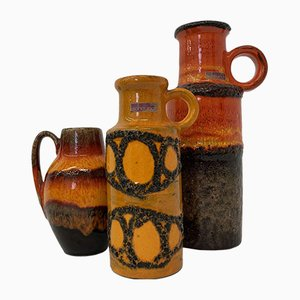Orange Vases from Scheurich, West Germany, 1970s, Set of 3
