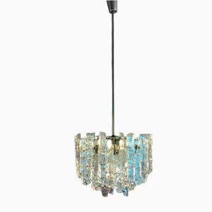 2-Tier Iced Glass Chandelier, 1960s