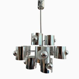 Abstract Chrome Ceiling Lamp by Gaetano Sciolari, 1970s