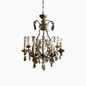 Antique Wrought Iron and Gilded Cage Chandelier