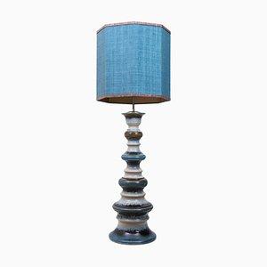 Große Keramik Stehlampe mit Lampenschirm aus Seide, 1960er