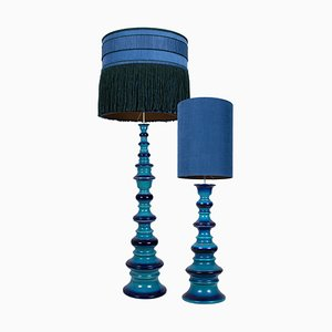 Large Ceramic Table Lamps with Silk Lampshade by Kaiser, 1960s, Set of 2
