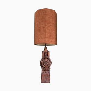 Große Tischlampe aus Keramik mit Lampenschirm aus Seide von Bernard Rooke, 1960er