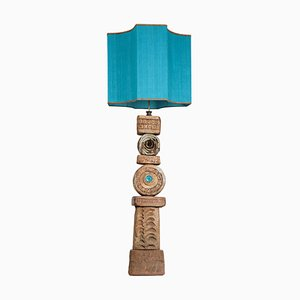 Keramik Stehlampe mit Lampenschirm aus Seide von Bernard Rooke, 1960er