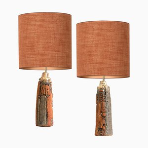 Ceramic Table Lamps with Silk Lampshade by Bernard Rooke, 1960s, Set of 2