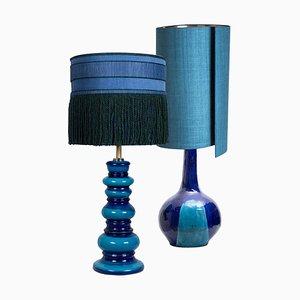 Große Tischlampen mit Seiden Lampenschirm, 1960er, 2er Set